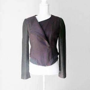 ESPRIT asymmetric purple biker leather wool jacket